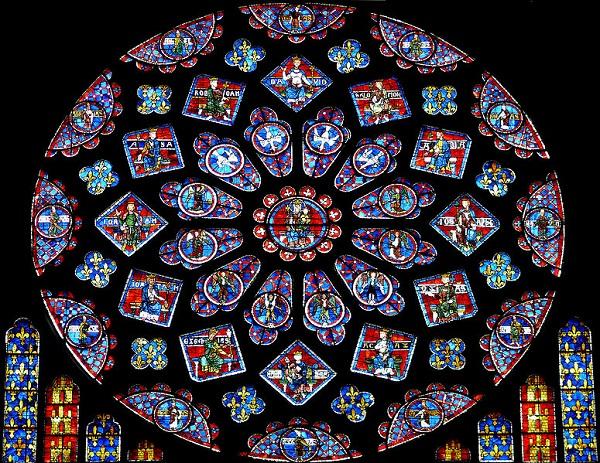 vitrail vu de l'intérieur. Rosace du portail nord de Notre-dame de Chartres
